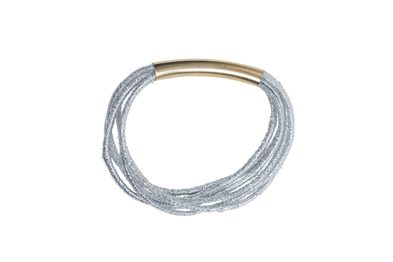 Elastique bracelet 2 en 1 gris clair